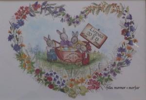barntavla doptavla kaniner_i_blomsterhjärta_s